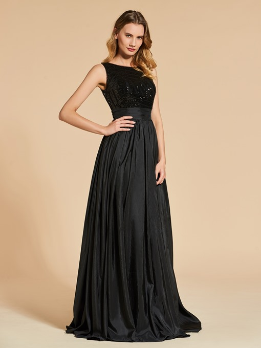 A-Line Bateau Sequins Floor-Length Evening Dress