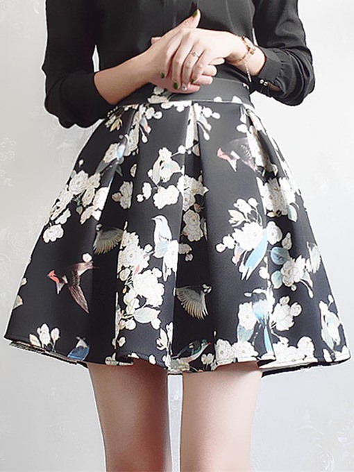 Pleated Floral Print A-Line Women's Mini Skirt