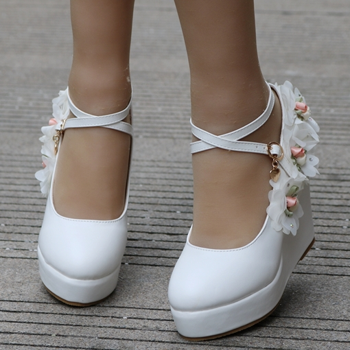 Appliques Buckle Platform Wedge Heel Wedding Shoes for Bridal