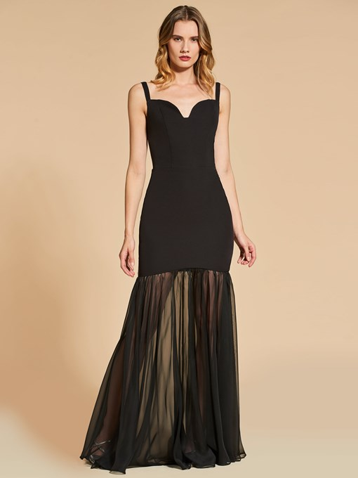 Sheath Backless Spaghetti Straps Evening Dress