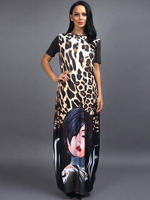 Short Sleeve Leopard Straight Women's Maxi Dress