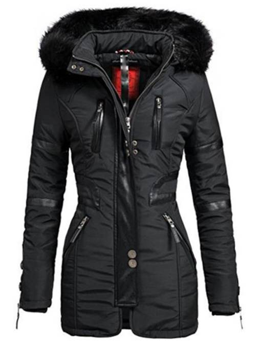 Motorcycle Faux Fur Hooded Zipper Slim Fit Women's Winter Jacket