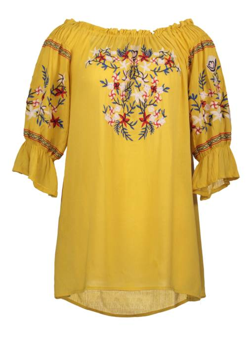 Slash Neck Floral Embroideried Women's Day Dress