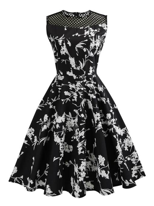 Black Mesh Patchwork Floral Women's Day Dress