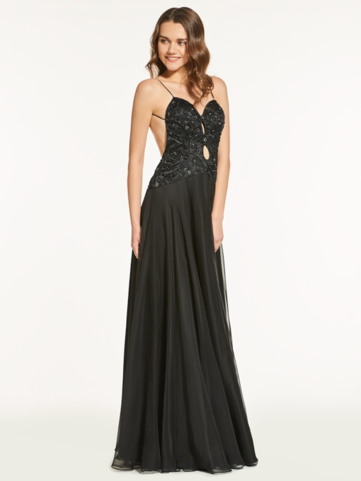 Beading Lace A-Line Backless Floor-Length Prom Dress
