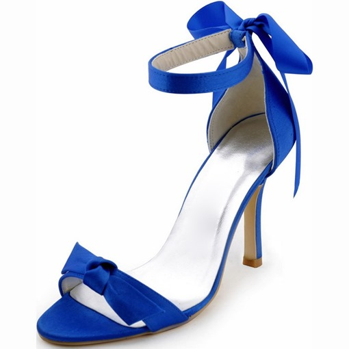 Lace Up Blue Sandals Simple Wedding Shoes for Bride