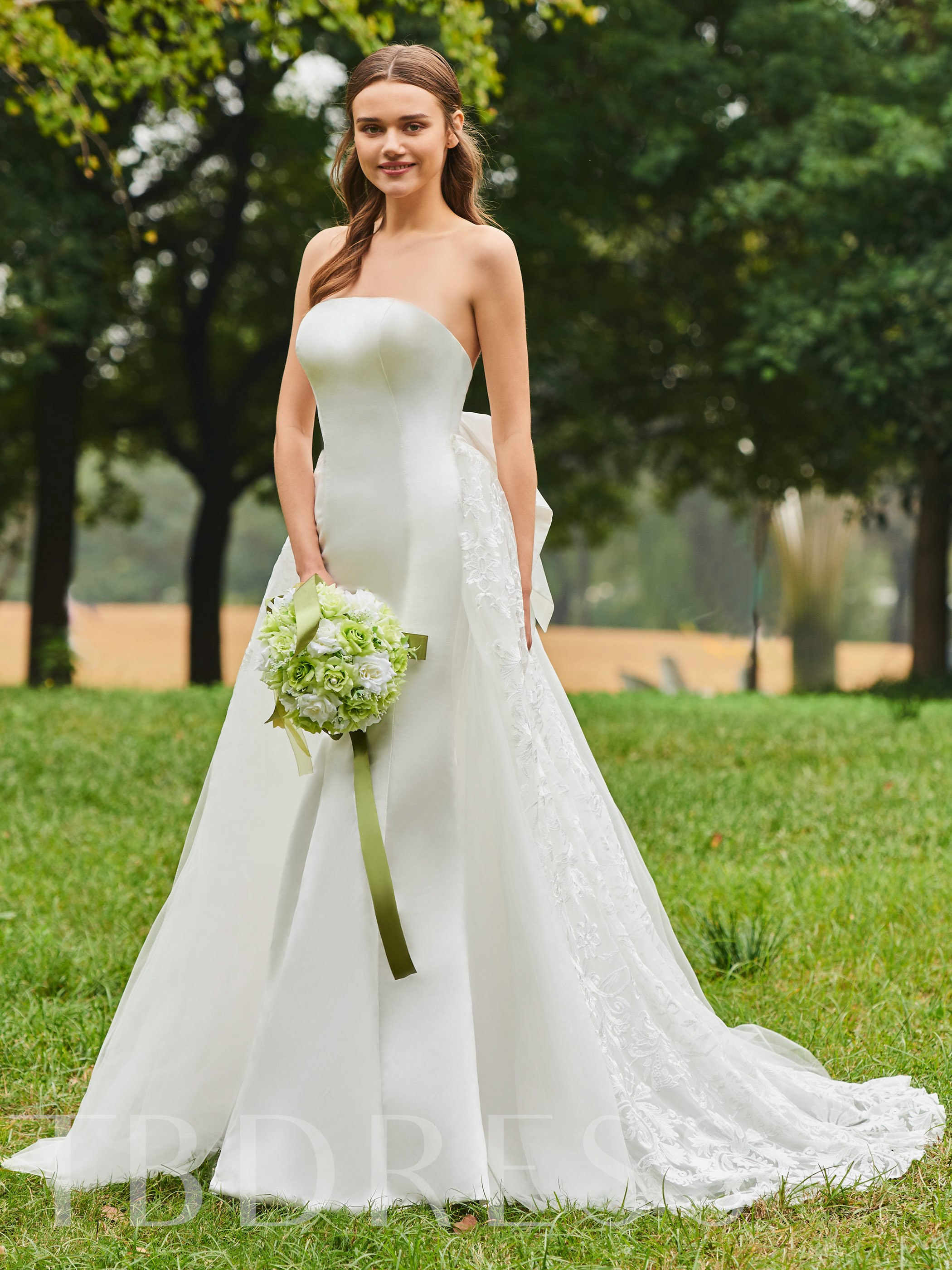 Image of Bowknot Back Strapless Lace Wedding Dress