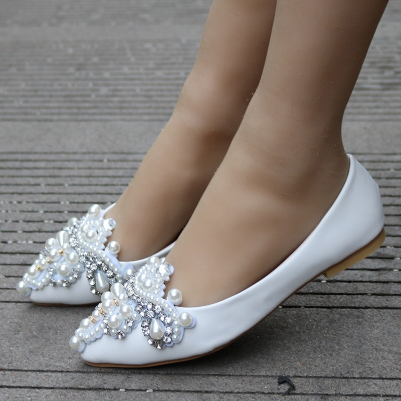 Pearl Rhinestone Flat With Womens Wedding Shoes