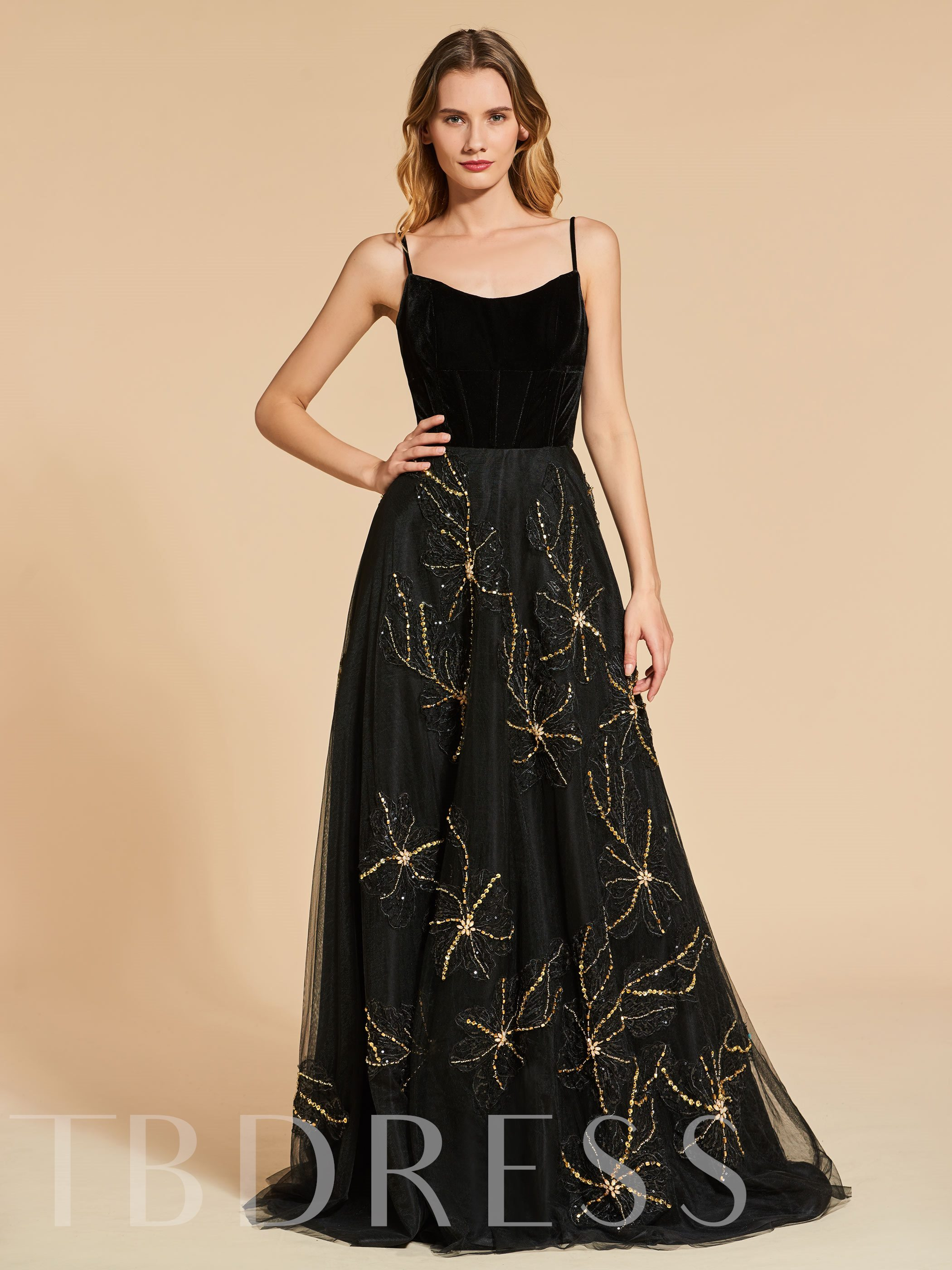 Image of A-Line Appliques Beading Backless Spaghetti Straps Evening Dress