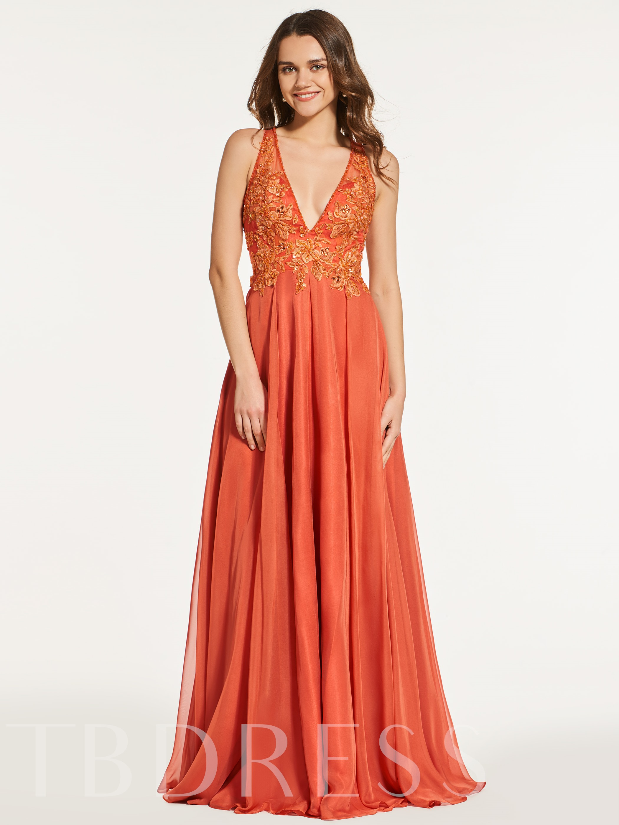 Image of A-Line Appliques Beading Button V-Neck Prom Dress