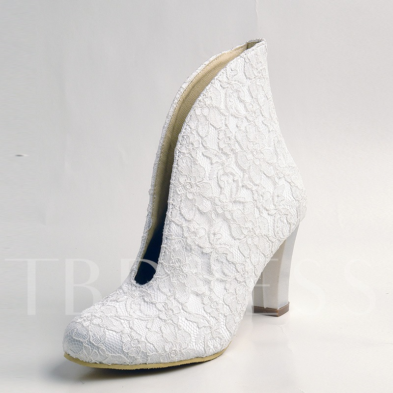 Image of White Lace Floral V-Collor Chunky Heel Wedding Shoes Booties for Bride