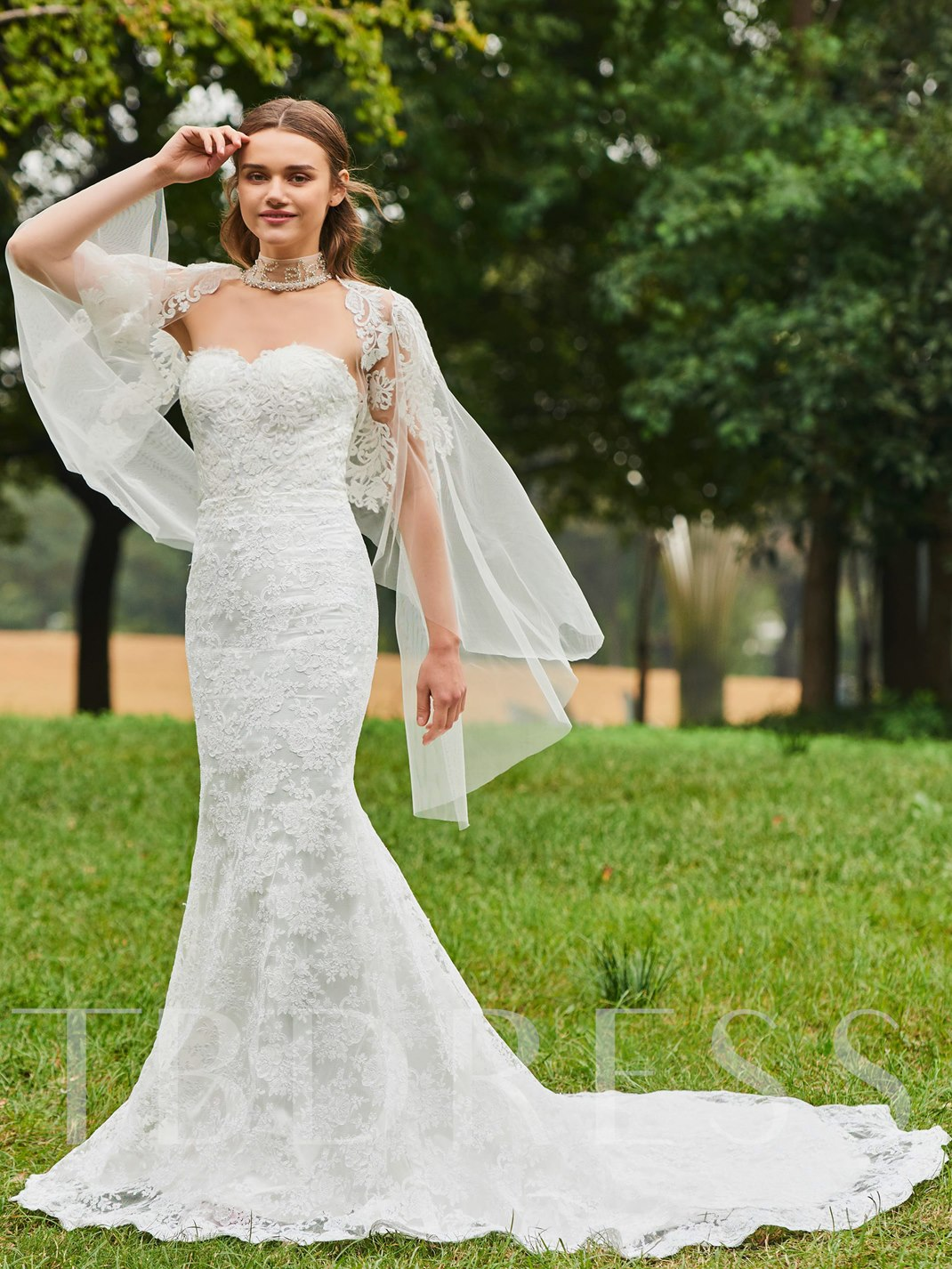 sweetheart mermaid lace wedding dress with shawl tbdresscom