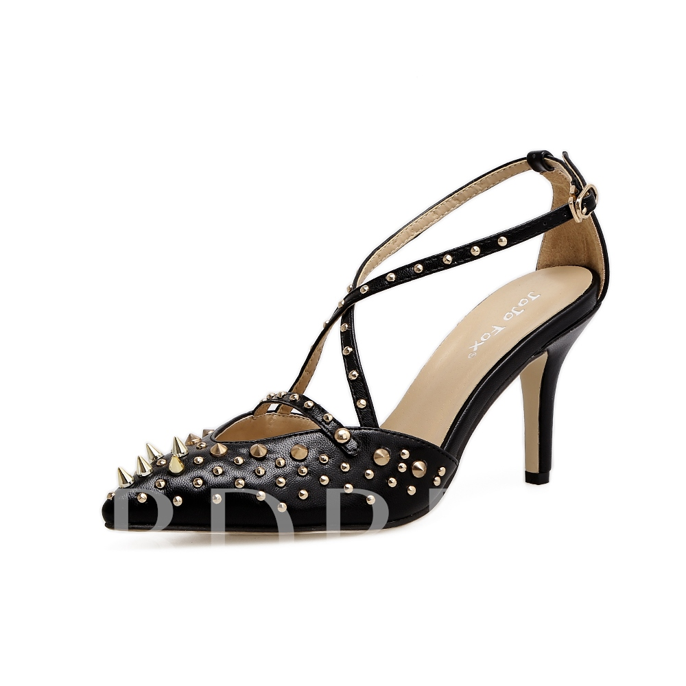 Buy High Heel Rivet Buckle Women's Punk Pumps, Spring,Summer,Fall, 13097115 for $35.99 in TBDress store