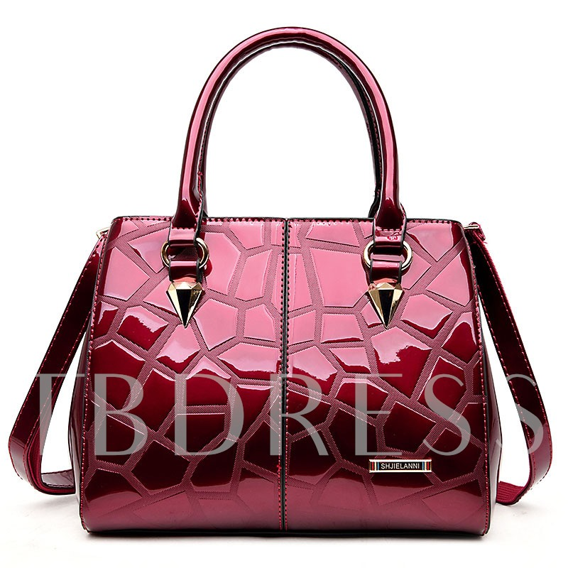 Occident Style Solid Color Embossing Women Tote