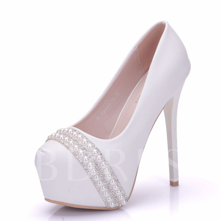 Buy Beads Rhinestone Utra-High Heel Platform Plain Wedding Shoes, Spring,Summer,Fall, 13095573 for $45.99 in TBDress store