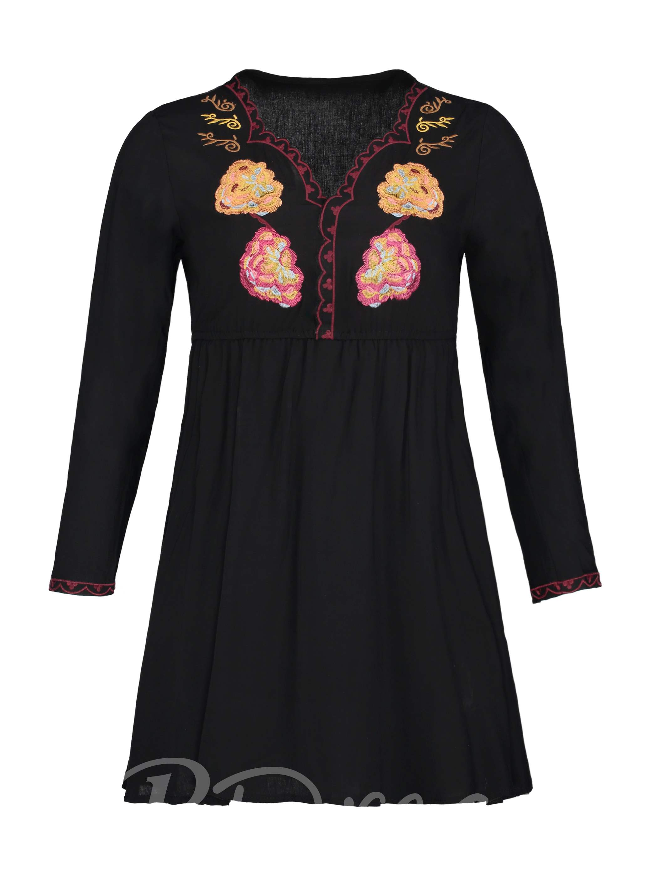 Buy V-Neck Floral Embroideried Women's A-Line Dress, Young17, 13095934 for $5.56 in TBDress store
