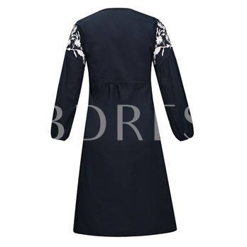 V-Neck Floral Embroideried Pullover Women's Day Dress