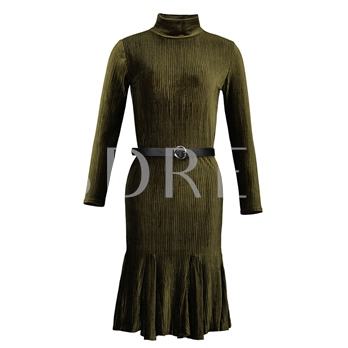 Turtleneck Plain Pullover Mid-Calf Women's Day Dress