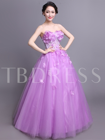 Beading Flowers Sweetheart Lace Long Quinceanera Dress