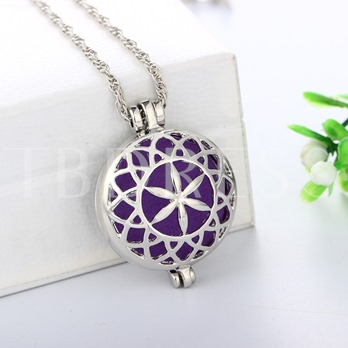 Flower Cotton Cushion Aromatherapy Locket Pendant Necklace