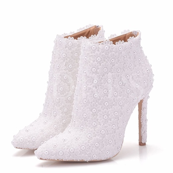 Pointed Toe Pearl Lace Wedding Shoe High Heels Boots
