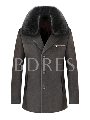 Faux Fur Hooded Mid-Length Men's Woolen Trench Coat