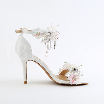 Heel Covering Appliques Beads White Sandals Bridal Wedding Shoes