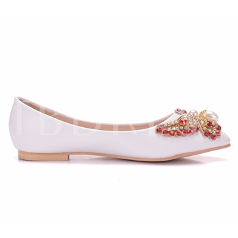 Butterfly with Rhinestone Beads Silp On Flats Wedding Shoes for Bride