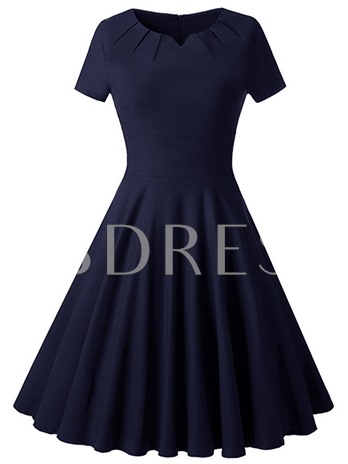 Solid Color Ruffled Short Sleeve Women's Day Dress