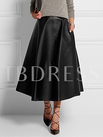 Retro Plain A-Line Women's Long Black Skirt