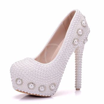 Platform Full Beads Rhinestone Women's High Heel Wedding Shoes