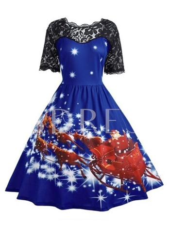 Backless Lace Patchwork Women's Christmas Dress