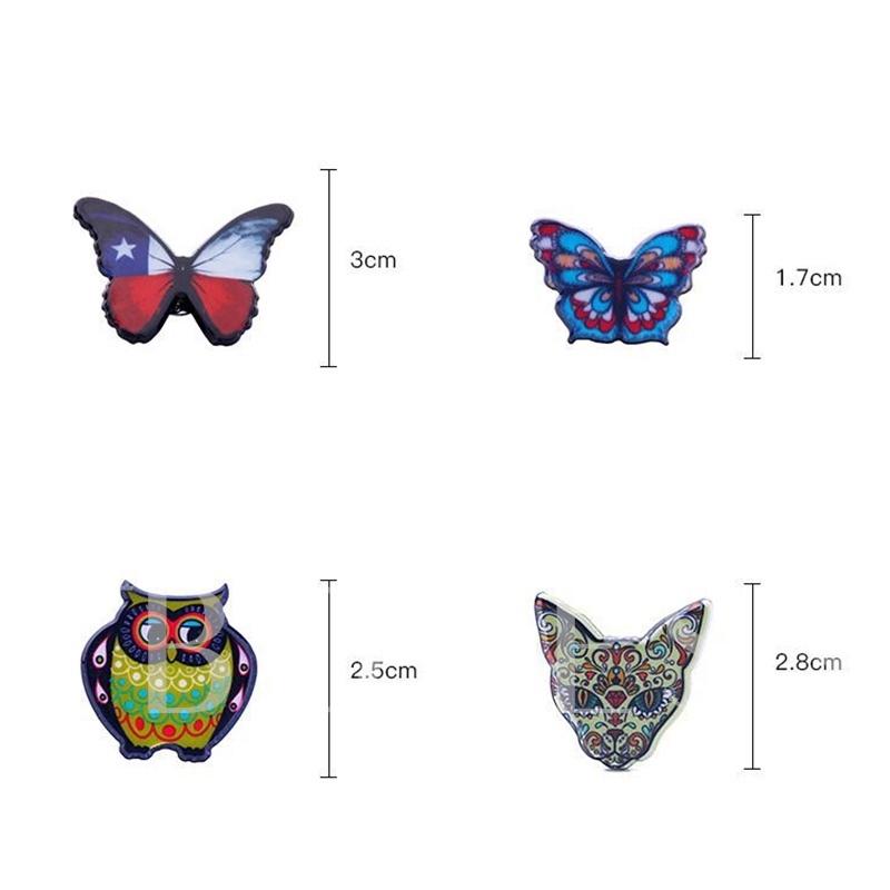 9Pcs Dog Butterfly Owl Leopard Flower Enamel Pins
