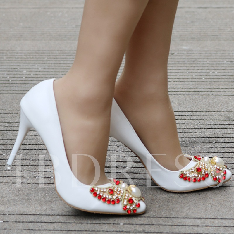 Colorful Rhinestone Butterfly High Heel White Wedding Shoes