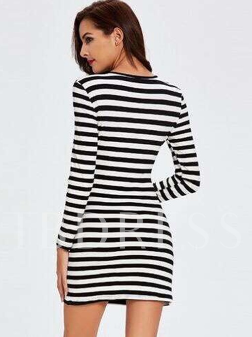 Striped V Neck Women's Bodycon Dress