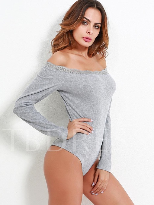 Slash Neck Long Sleeves Women's Bodysuit