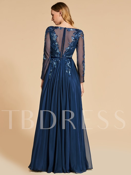 A-Line Bateau Appliques Beading Button Sequins Long Evening Dress