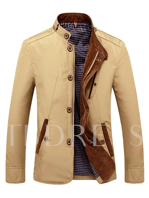 Stand Collar Single-Breasted Thin Slim Men's Jacket