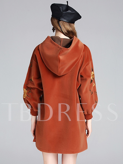 Embroidery Loose Women's Hooded Dress