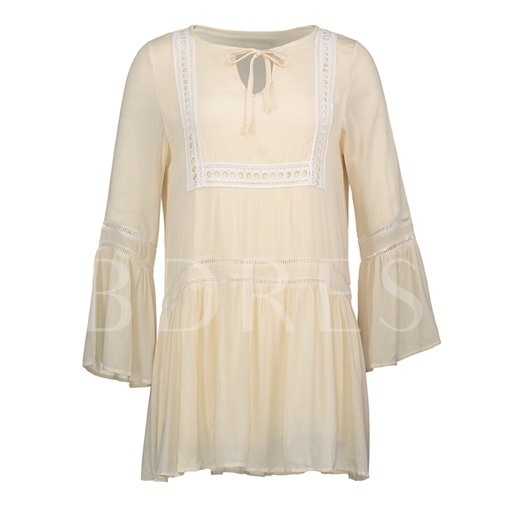 Round Neck Flare Sleeve Pullover Women's Day Dress