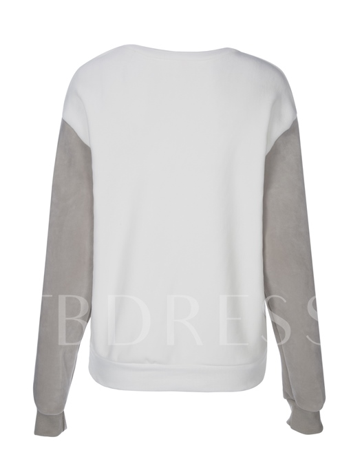 Round Neck Color Block Pullover Women's Hoodie