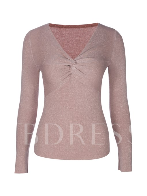 Slim Deep V-Neck Plain Women's Knitwear
