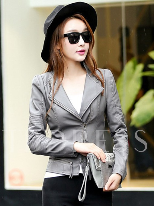 Plain Zipper Slim Fit Women's PU Jacket