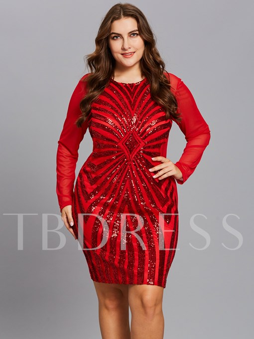 Christmas Red Plus Size Sequins Women's Bodycon Dress