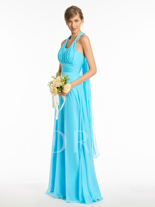 Halter Pleats Sashes Long Bridesmaid Dress