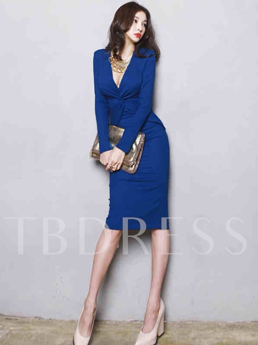 Blue V Neck Ruffled Women's Bodycon Dress