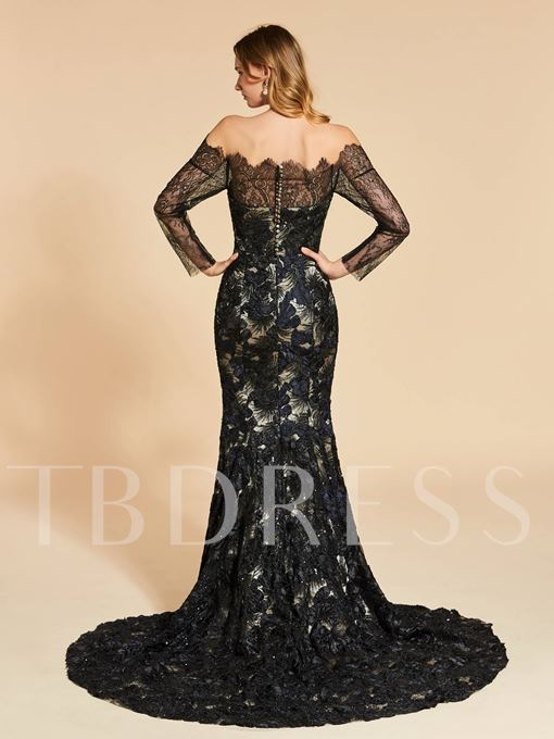 Trumpet Beading Button Lace Sweep Train Evening Dress