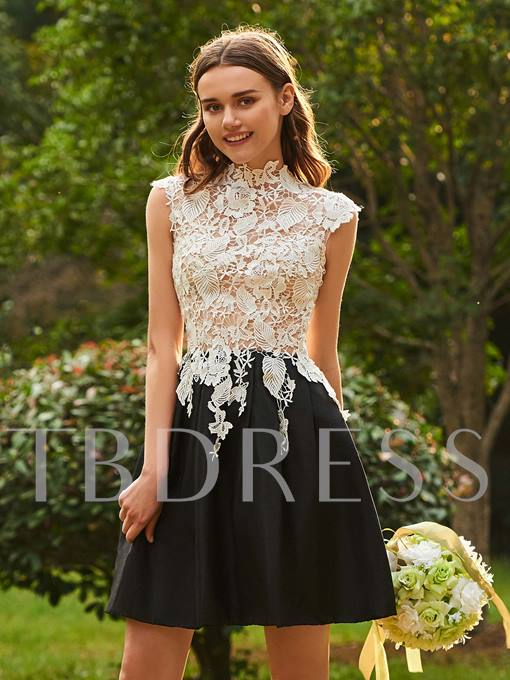 Lace Cap Sleeve High Neck Bridesmaid Dress