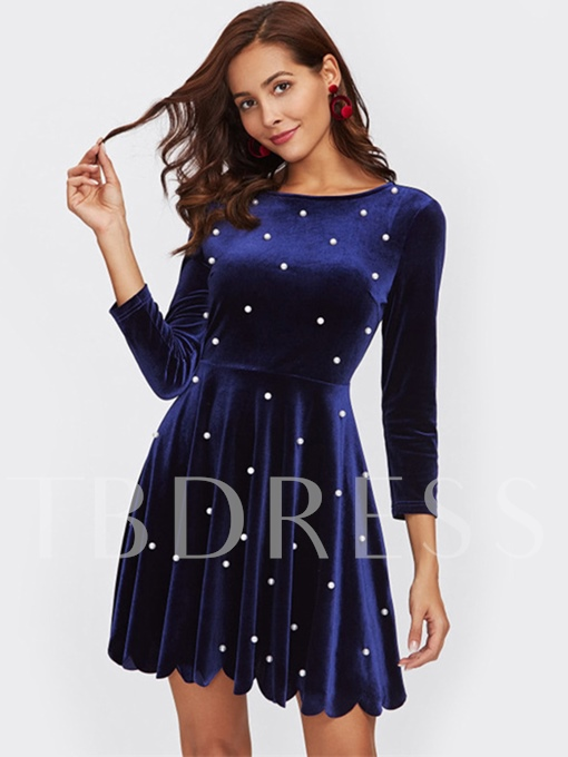 Dark Blue Beads Velvet Women's Day Dress
