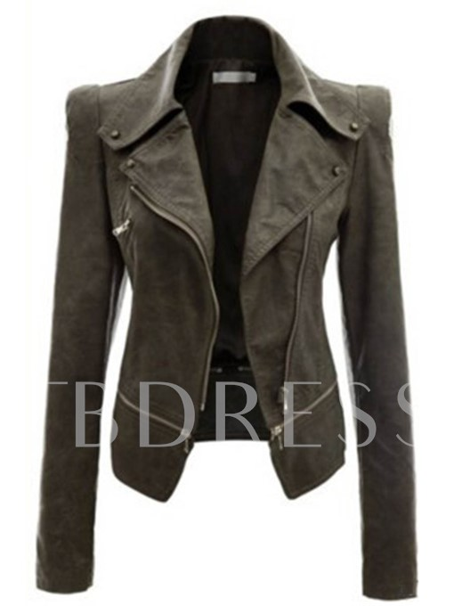 Shrugged PU Slim Lapel Zipper Women's Jacket